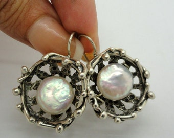 New Israel Unique Hand made Sterling Silver Pearl Earrings (s e2084)