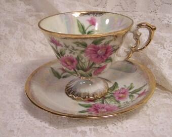 Vintage Teacup and Saucer Set, Lustreware, Pink Flower, Gold Trimmed, Green Leaf, Fine Bone China, Antique Victorian, Shabby Chic Decor