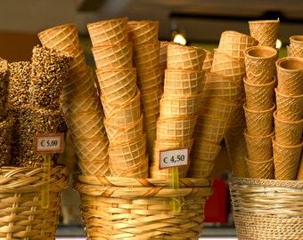 Food Photography Gelato Photograph Ice Cream Cones Italian Food Photo Neutral Colors Beige Kitchen Art ita102