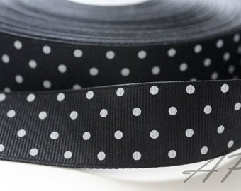 5 Yards of 1 inch (25mm) WhitePolka Dot in Black Grosgrain Ribbon for Jewelry, Accessories, Clothing