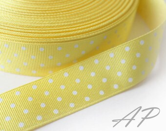 "5 Yards of 19/32"" (0.5938 inch=15mm) White Polka Dot in Yellow Grosgrain Ribbon for Jewelry, Accessories, Clothing"