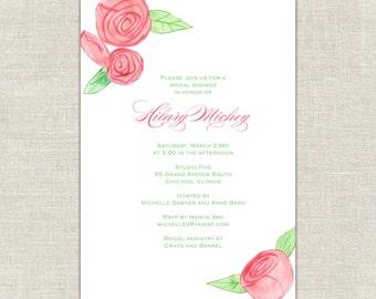 Watercolor Bridal Shower Invitation, Roses Bridal Shower,  Pink & Green Invites, Pink Rose Invitations, Rosebud Invitations, Romantic