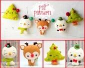 PDF Pattern. Christmas garland with Rudoph, Snowmen and Christmas tree.