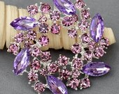 Rhinestone Brooch Embellishment Purple Crystal Wedding Brooch Bouquet Cake Invitation Hair Comb Shoe Clip DIY Supplies BR380
