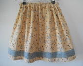 Clearance- Size 3-4 Girls Flower Corduroy Winter Skirt with Blue Lace, Modest Girls Skirt, Made In Australia