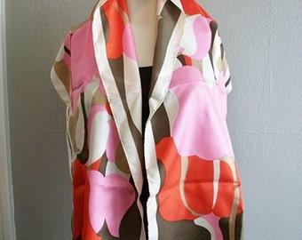 60s large Pierre Cardin silk SCARF pink tulips