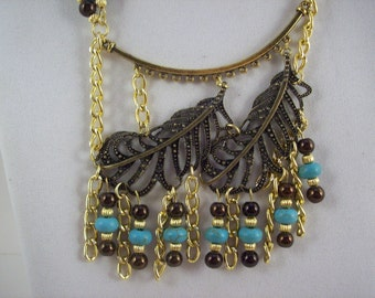Double Feather Gold Turquoise Necklace