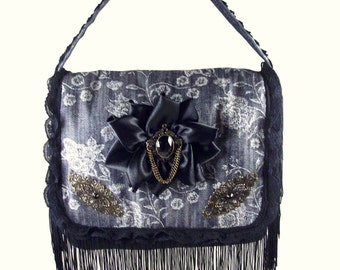Black Rose Floral Lace Jean Bag