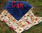 Cowboy Baby Blanket - Lil' Cowpoke Blanket- Royal Blue Minky-Personalized - Baby Boy Blanket - Toddler-Stroller-Crib