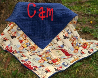 Cowboy Baby Blanket - Lil' Cowpoke Blanket- Royal Blue Minky-Personalized - Baby Boy Blanket - Toddler-Stroller-Crib