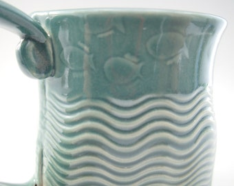 Ceramic Tripod Mug, Coffee Mug, tri-foot mug, coffee cup, teal mug, ceramic tea cup, stoneware mug, ceramic fish mug, handbuilt pottery mug