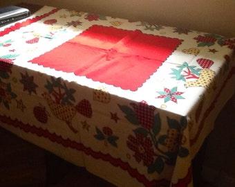 Sweet Vintage Folk Art Tablecloth