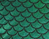 Kelly Holographic Fishscale on Black Nylon Stretch Lycra Fabric