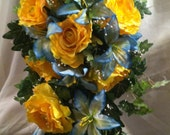 Custom Order for Clare Balance for Blue and yellow wedding bouquet by Silk N Lights Designs