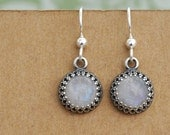 sterling silver moonstone earrings, ONCE UNDER The MOONLIGHT antiqued silver earrings with natural moonstone cabs