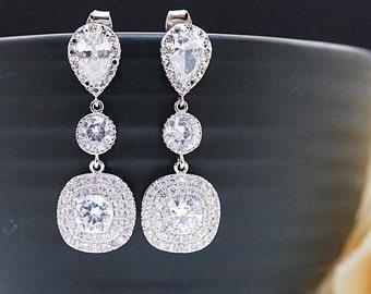 Cubic Zirconia Bridal Earrings Wedding Jewelry Bridesmaid earrings CZ dangle Earrings Halo Style Cubic Zirconia Wedding Earrings (E-B-0076)