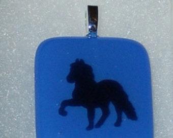 Fused Glass EquestrianPendant - blue and black