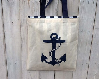 Eco Friendly LINED Nautical Anchor w/ Navy Handles Reusable Canvas Tote Bag