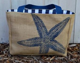 Handmade Star Fish Burlap Market Tote Bag