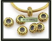 Charm Safety Rubber Stopper Bead ~ Antique Gold Tone ~ Fits European Style Bracelets