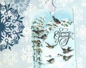 Christmas Gift Tags Birds in Snowy Forest