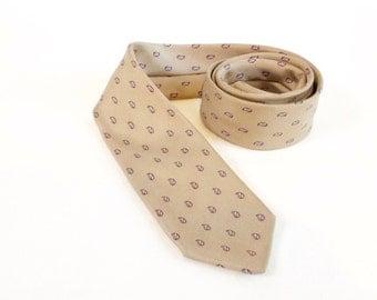 Vintage Necktie: 1970s Khaki Silk Skinny necktie Made in Italy