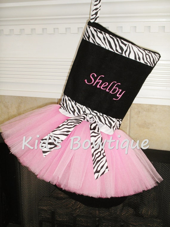Monogrammed Zebra Print Ribbon Tutu Christmas Stocking -  Unique Personalized Holiday Stocking