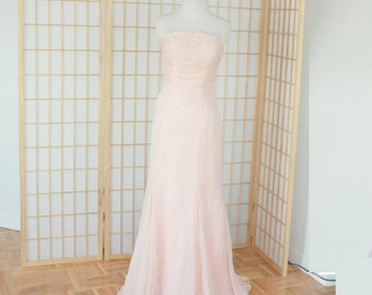 Strapless Peach Blush Pink Lace Formal Evening Dress | Prom Dress