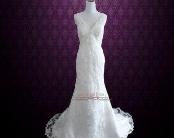 Vintage Style Lace Overlay V Neck Low Back Wedding Dress | Retro Wedding Dress | Lace Wedding Dress | Ivory Wedding Dress |  Michelene
