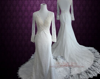 Vintage Style Lace Wedding Dress with Plunging Neckline and Long Sleeves | Sexy Wedding Dress | Cathedral Length Wedding Dress | Amber