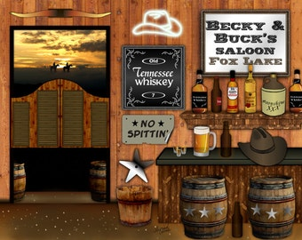 Country Western, personalized bar art, saloon print, American cowboy, cowgirl bar, shots of whiskey, bourbon beer, country wedding, for him