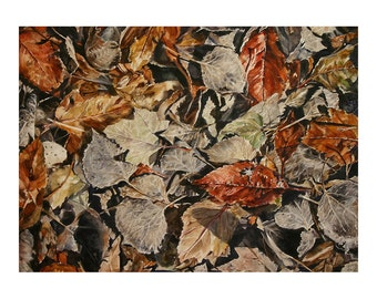 Leaves  Print - Watercolor- Fine Art- Photo Realistic Landscape- Brown Rust, Grey- 9x13