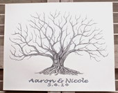 Big Roots, Large Fingerprint Moreton Bay Fig Tree Wedding Guest book,Hand Drawn in ink, includes 2 ink pads and pen