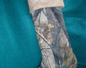 Realtree Camo Christmas Stocking with burlap top