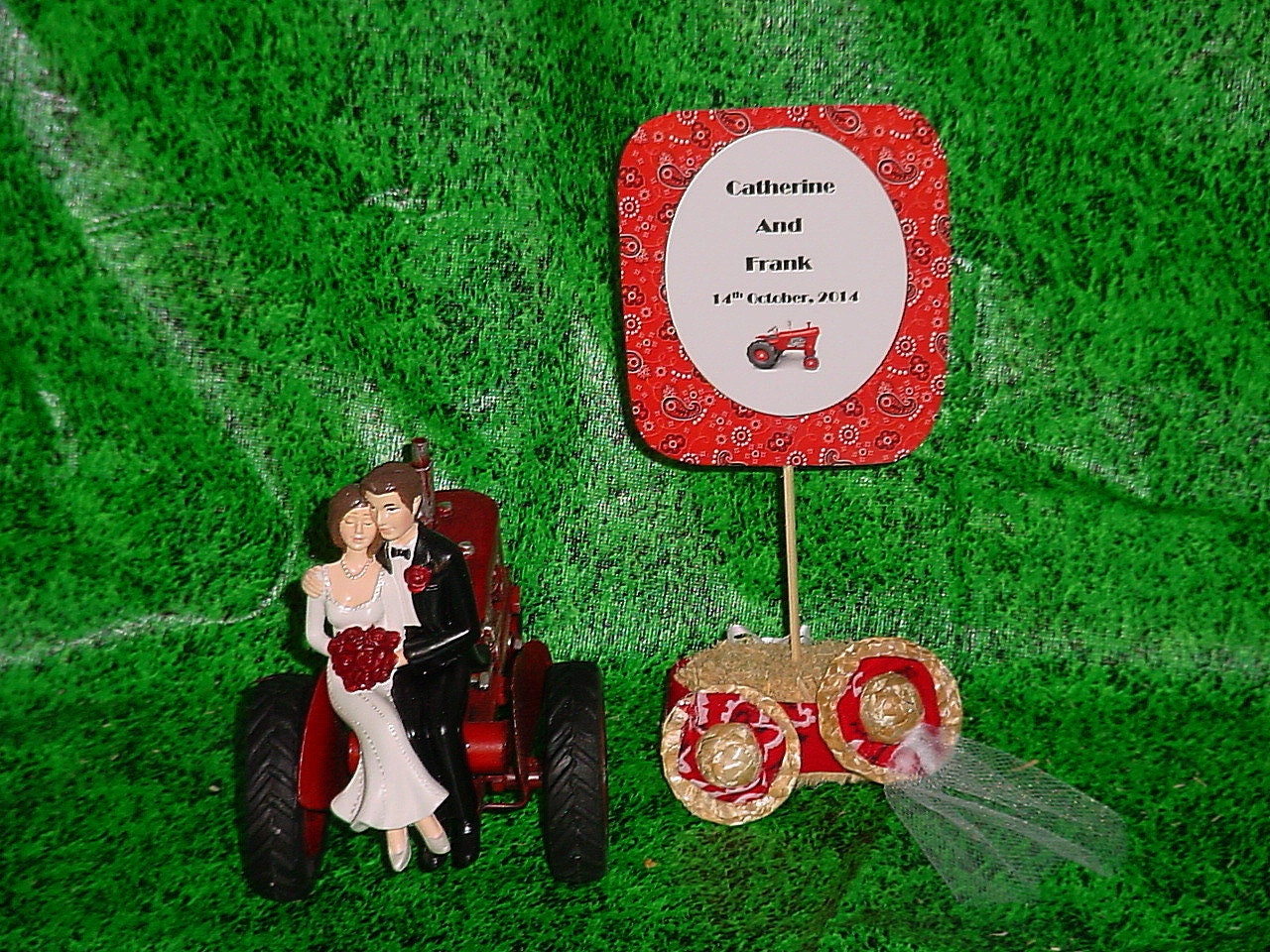 Red Tractor Farm County Outdoor Rustic Couple on by
