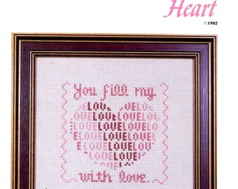 You Fill My Heart Red Pink Love Heart Sampler Romantic Valentine Wedding Gift Counted Cross Stitch Embroidery Craft Pattern Sheet CSG-5