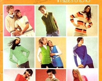 Young Classics in Sizes 8 to 16 Teen Sweaters Pullovers Vests Cardigans Cables Colors Knitted Craft Pattern Leaflet Bernard Ulmann Volume 20