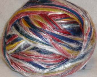 Merino Tussah Silk Roving, Merino Roving, Silk Roving, Merino Silk Roving, Felting Fiber - Diablo- 8oz