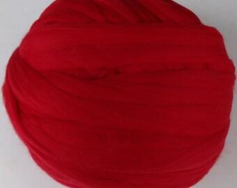 Wool Roving - Merino Wool Roving for Spinning or Felting - Red - 8oz