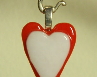 Red & White Fused Glass Heart Pendant,