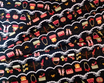 Japanese fabric, Antique design fabric, Retro fabric, Cotton fabric, Lolita fabric, Girls' fabric, Black fabric,  1/2 yard FB070