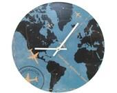 SILENT World Wall Clock, Globe Wall Clock, Map Wall Clock, Unique Wall Clock, 12 Inch Large Wall Clock Airplane Clock Office Wall Decor 1862