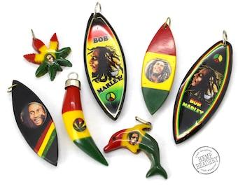 Rasta Pendants, 7 pcs, Reggae Pendants, Acrylic Pendants, Rasta Colors, Red Yellow Green -B69