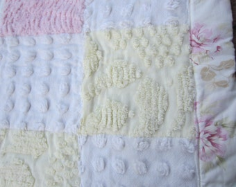 CRIB QUILT Featuring VINTAGE Chenille Patchwork Soft And Feminine