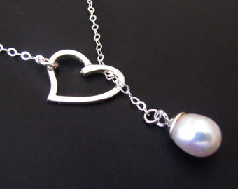 Heart Lariat Necklace, Pearl Necklace, Sterling silver, Pendant Necklace, Jewelry, Gift