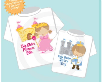 Set of Two Personalized Brown Hair Big Sister Princess Shirt, and Brown Hair Little Brother Prince Onesie (04022013a1)