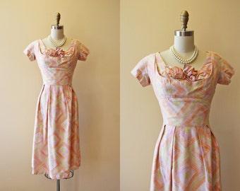 50s Dress - Vintage 1950s Dress - Designer Suzy Perette Bombshell Bust Shelf Wiggle Dress S - Tiki Torches
