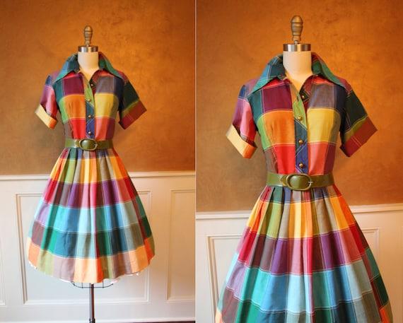 Vintage Wedding Dresses 50s 60s: 1960s Dress Vintage 50s 60s Dress Colorful Cotton By