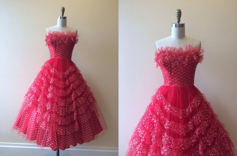 1950s Dress Vintage 50s Dress Red Silver Cupcake Wedding