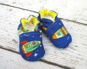 SALE Classic Vegan Race for Space All Fabric Soft Sole Baby Shoes / Made to Order / Babies Rockets Spaceship